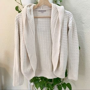 GAP IVORY KNIT OPEN FRONT CARDIGAN WITH HOOD